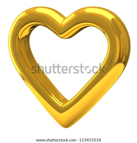 Gold heart 3d - love and Valentine's day symbol - stock photo