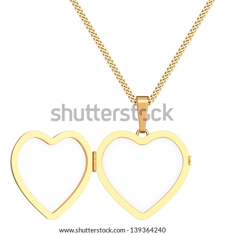 Gold heart shaped locket on chain isolated on white background. High resolution 3D image - stock photo