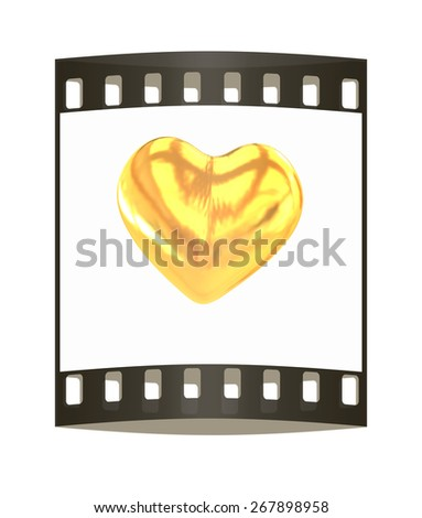 Gold heart. The film strip - stock photo