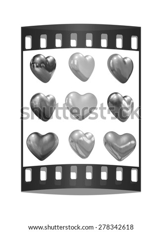 Gold hearts set for wedding design on a white background. The film strip - stock photo
