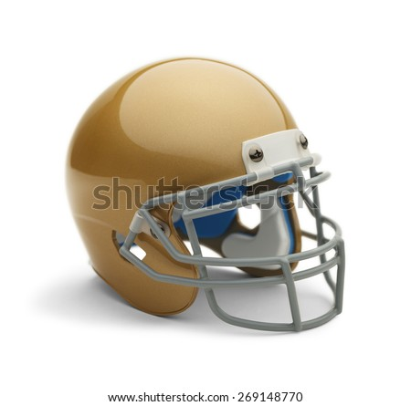Gold Helmet Angle View with Copy Space Isolated on White Background.