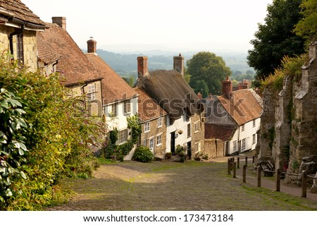 Gold Hill, Shaftesbury, Dorset, England - stock photo