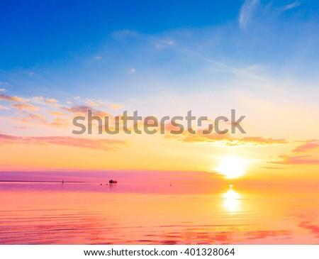 Gold Horizon Sun  - stock photo