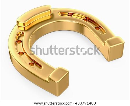 gold horseshoe isolated on a white background. 3D illustration. - stock photo