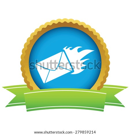 Gold hot letter logo on a white background - stock photo