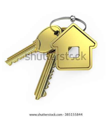 gold house and gold key, on a white background, 3d render - stock photo