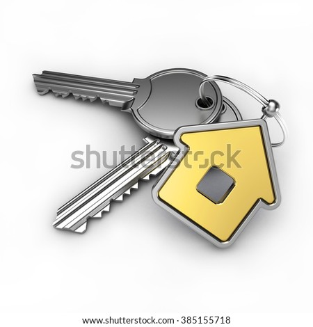 gold house and key, on a white background, 3d render - stock photo