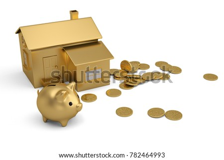 Gold house and piggy bank with coins on white background.3D illustration.