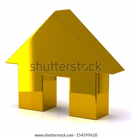 Gold house icon - stock photo