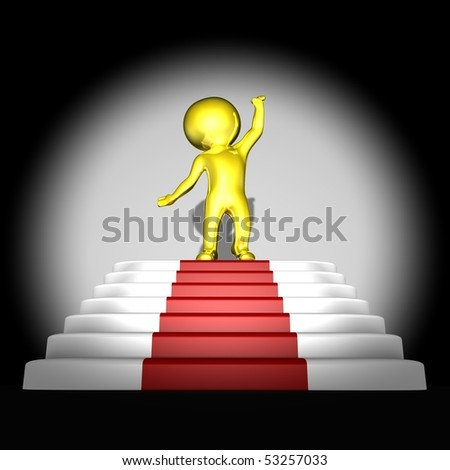 Gold human on top of red carpet - 3d image - stock photo
