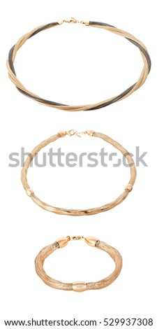 gold in the women's jewelry fashion style. The best gift for Christmas. Stylish gold jewelry for women on a white background.