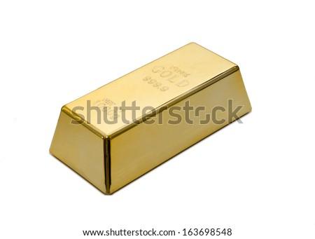 Gold ingot, bullion or bar isolated on white background - stock photo