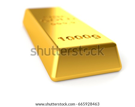 Gold ingot isolated on white background. 3d illustration