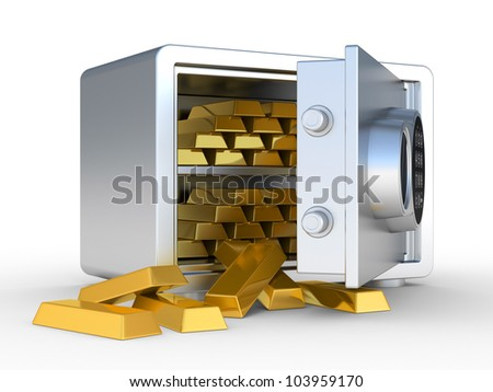 Gold ingots in the steel safe. 3D illustration on a white background