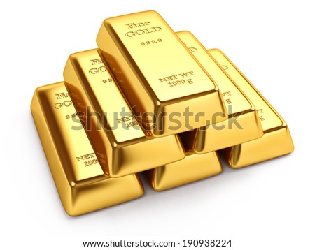 Gold ingots isolated on white background - stock photo