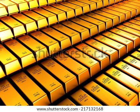 Gold ingots, perfectly organized, representing wealth and business goal - stock photo