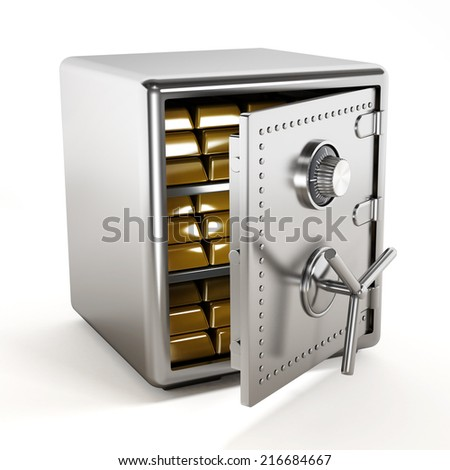 Gold ingots standing inside steel safe