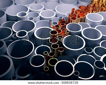 Gold innovative pipe. The concept of innovation. 3d render illustration - stock photo