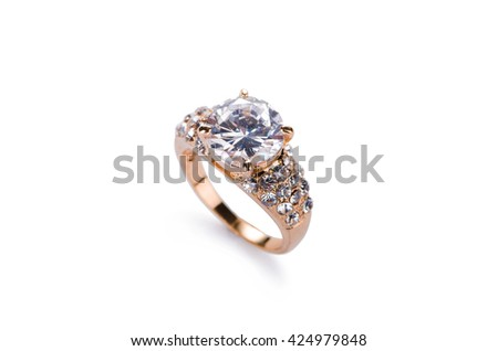 Gold jewellery ring isolated on the white background - stock photo