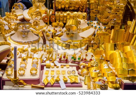 Gold Jewelry Egyptian Bazaar Grand Bazaar Stock Photo Royalty Free