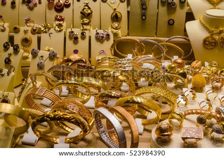 Gold Jewelry Egyptian Bazaar Grand Bazaar Stock Photo 523984390