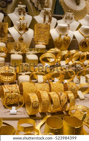 Gold Jewelry Egyptian Bazaar Grand Bazaar Stock Photo 523984399