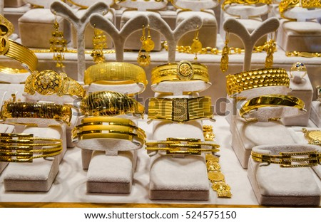 Gold Jewelry Egyptian Bazaar Grand Bazaar Stock Photo 524575150