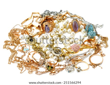 gold jewelry isolated on white background - stock photo