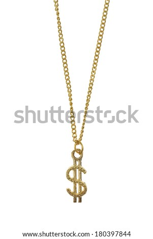 Gold jewelry with dollar sign on white background - stock photo