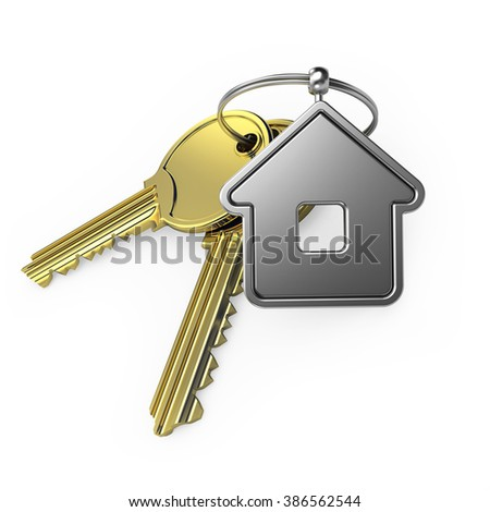 gold key and steel house, on a white background, 3d render - stock photo