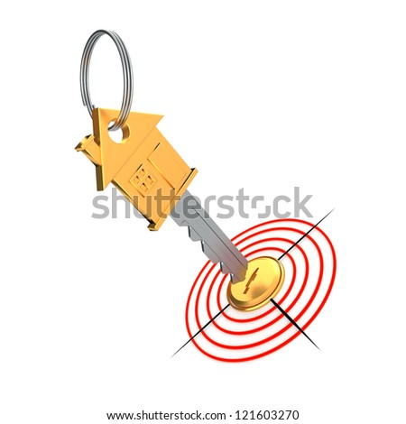 Gold key and target isolated on the white background - stock photo