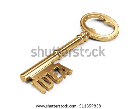 Gold Key to Success isolated on white. 3d rendering