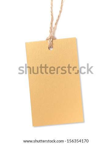 Gold label with rope isolated on white background - stock photo