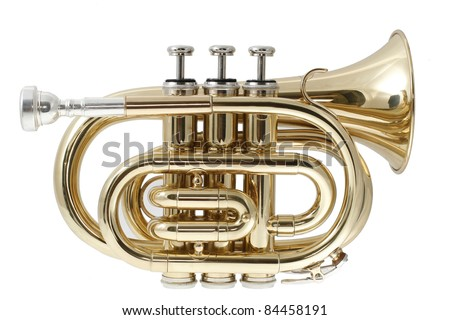 gold lacquer pocket trumpet with mouthpiece isolated on white