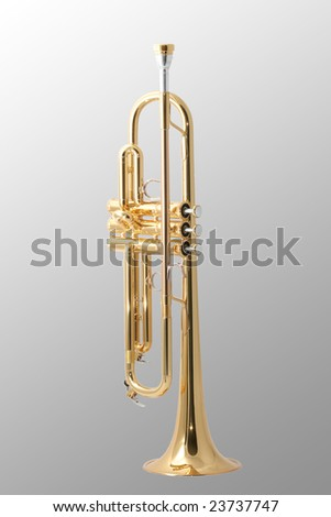 gold lacquer trumpet with mouthpiece isolated on grey