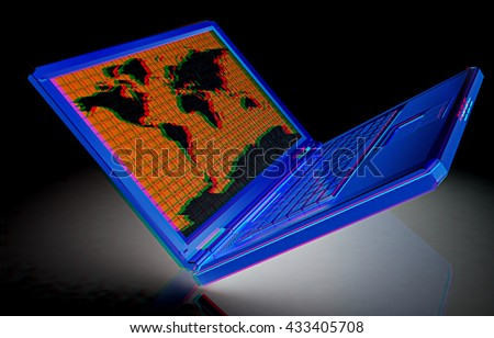 Gold laptop with world map on screen on a black background. 3D illustration. Anaglyph. View with red/cyan glasses to see in 3D. - stock photo