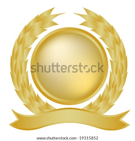 Gold laurel wreath and banner - stock photo
