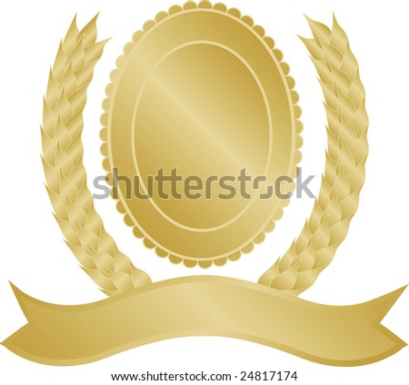 Gold laurel wreath vector with space to insert text and fully editable - stock photo