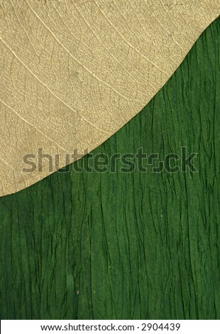 Gold Leaf on Green Textured Background