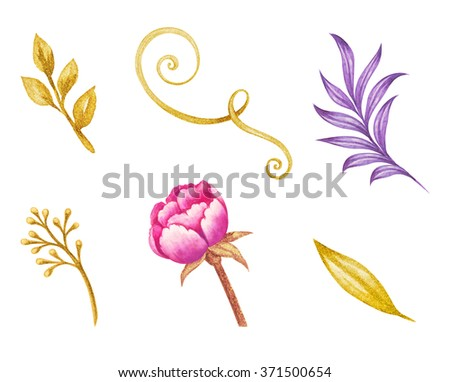 gold leaves and pink peony flower watercolor illustration, floral design elements isolated on white background - stock photo
