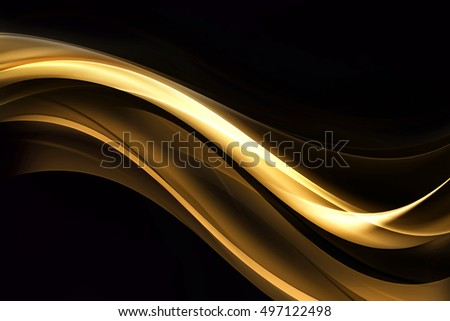 Gold Light Abstract Blue Waves Background Design
