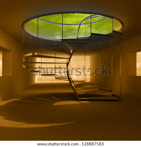 gold light interior with spiral staircase up to heaven illustration
