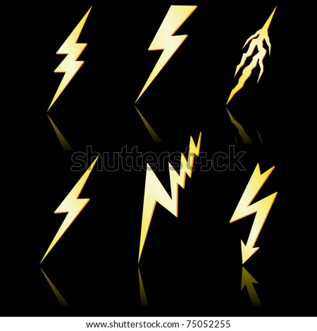 Gold lightning with reflection