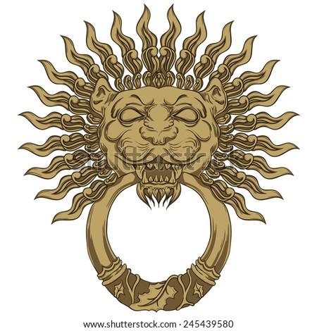 Gold lion head door knocker. Hand drawn illustration - stock photo