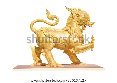 Gold Lion statue Isolated on white background