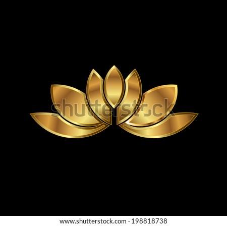 Gold Lotus plant image - stock photo