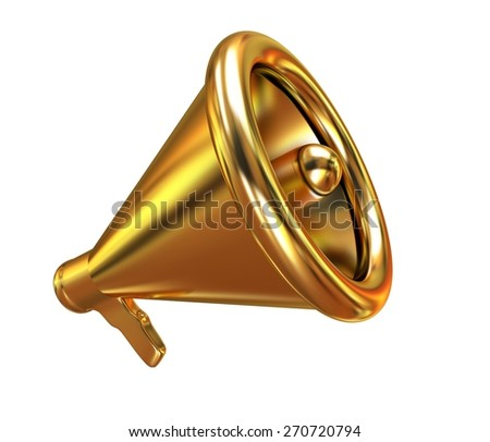Gold loudspeaker as announcement icon. Illustration on white - stock photo