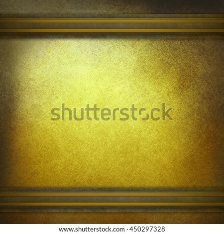 gold luxury background with texture and brown and gold striped trim on top and bottom border - stock photo