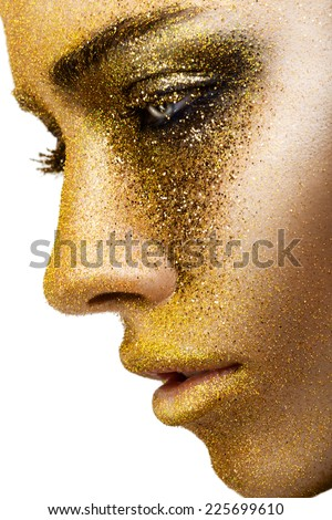 Gold make-up - stock photo