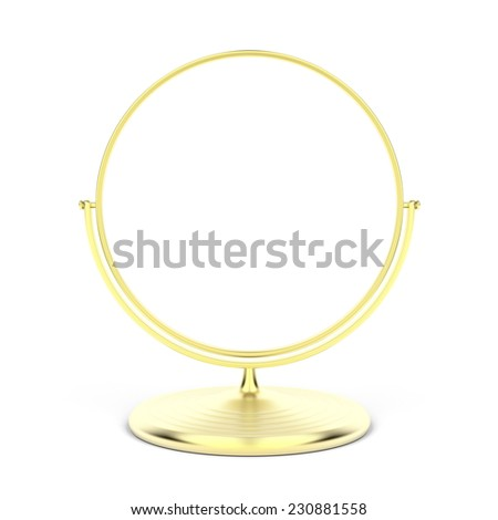 Gold makeup mirror on white background